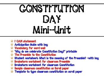 Constitution Day Mini-Unit with Create-Your-Own Classroom Constitution