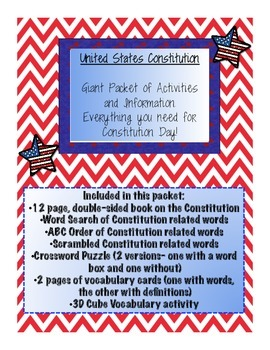 Constitution Day Packet- Includes Info Book, Vocabulary Activities and More!