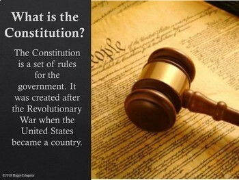 Constitution Day PowerPoint, Digital Interactive Review and Printables