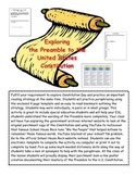 Constitution Day Preamble Literacy Skills Lesson Plan Activity Template Bookmark