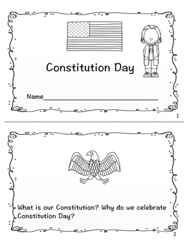 Constitution Day Printable Reader And Comprehension Sheets