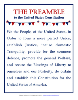 image about Preamble Printable called Consution Working day Printables