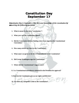 Constitution Day Q&A with Answers