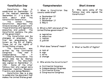 Constitution Day Reading Comprehension Trifold