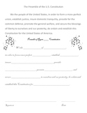 Constitution Day, Sept. 17 - Preamble Class Rules Fill In
