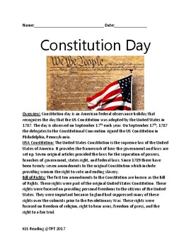 Constitution Day - September 17th review article  facts information lesson