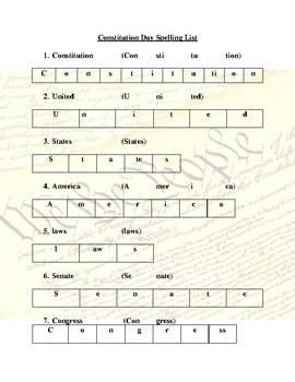 Constitution Day Spelling List (Grades 2-4)