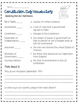 Constitution Day Vocabulary
