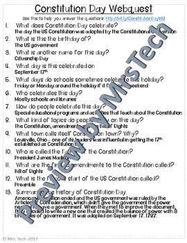 Constitution Day Webquest