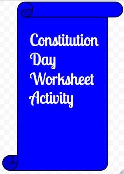 Constitution Day Worksheet Activity