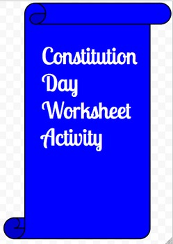 Constitution Day Worksheet Activity