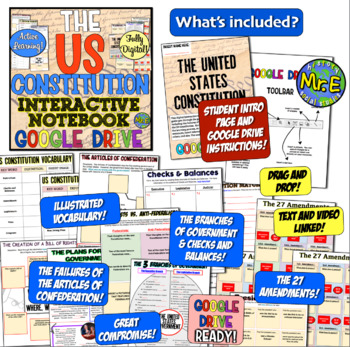 Constitution DIGITAL Interactive Notebook: Google Drive Ready US Constitution!