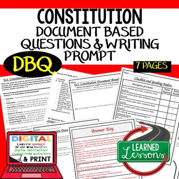 Constitution Document Based Questions DBQ (American History) #memoriesdeals