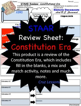 Constitution Era, STAAR Review Sheet