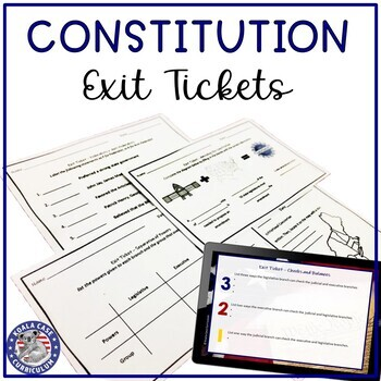 Constitution Exit Tickets | Printable and Digital for Distance Learning