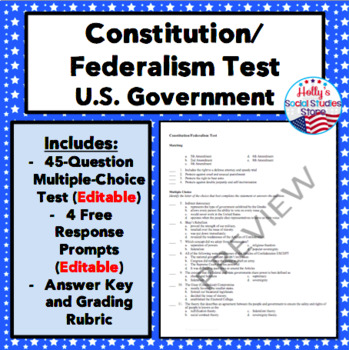 Constitution and Federalism Test (Foundations of U.S. Government)
