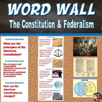 Constitution - Federalism Vocabulary WORD WALL  Posters (Civics)