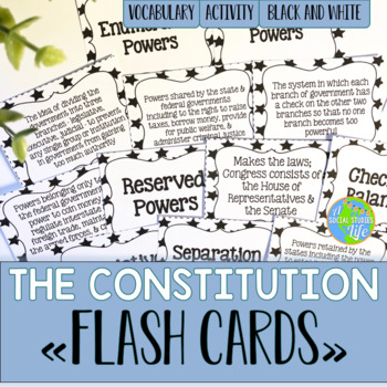 Constitution Flash Cards - Black and White