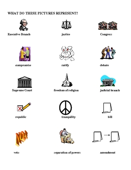 Constitution - Fun Vocabulary Activity ANSWER KEY
