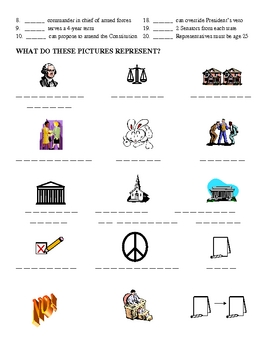 Constitution - Fun Vocabulary Activity with KEY