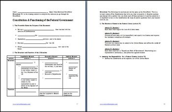 Constitution Functioning of the Federal Government Differentiated Lesson Plan