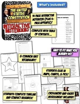 Constitution Interactive Notebook! Engaging Notebook on the US Constitution!