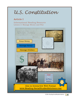 Constitution - Lesson 3 - Article I - Manage Money and War
