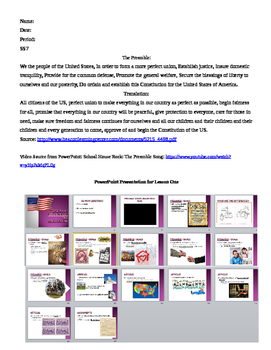 Constitution Lesson Plan Sequence (Activities included)