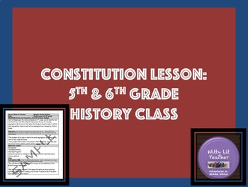 Constitution Lesson for 5th Grade Social Studies