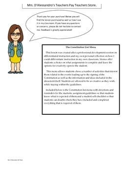 Constitution Menu- Differentiated Instruction