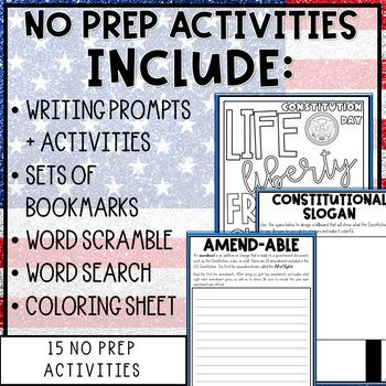 Constitution Mini-Activity Pack / Editable Bingo Cards