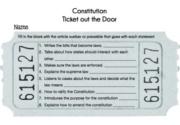 Constitution Notes & Guided Notes Flipbook & Ticket out the Door!
