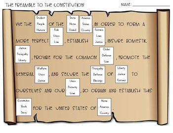Constitution: Preamble Assessment