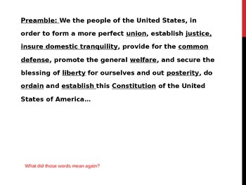 Constitution Preamble Foldable Illustration Activity