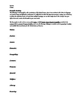 Constitution Preamble Vocabulary Activity--Common Core