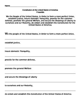 Constitution Preamble activity