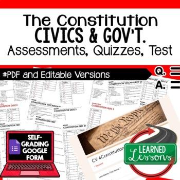 Constitution Quiz, Constitution Test, Civics Assessment