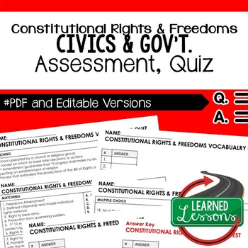 Constitution Rights and Freedoms Test, Quiz, Civics Assessment