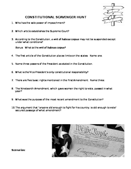 Constitution Scavenger Hunt