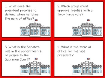 Constitution - Three Branches of Government Activity: Task Cards