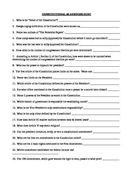 Constitution scavenger hunt answer key government
