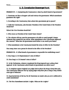 Constitution day worksheet answers