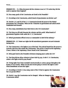Constitution Scavenger Hunt Worksheet by Amy Miller | TpT