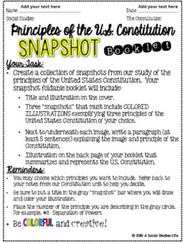 Constitution Snapshot Activity