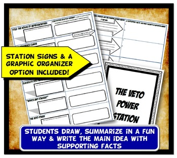 Constitution Stations Activity with Graphic Organizer Worksheets
