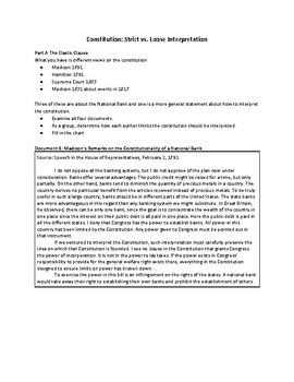 Constitution: Strict vs. Loose Interpretation (AP US History)