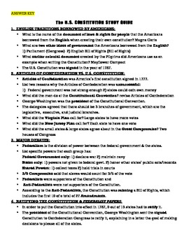 Constitution Study Guide, Quiz, & Test (& ANSWER KEYS!)