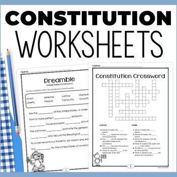 Constitution: Supplemental Worksheets & Activities
