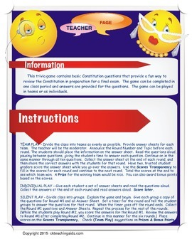 Constitution Review Trivia Game for Studying the US Constitution