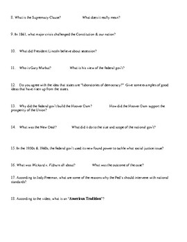 Constitution USA with Peter Segal Worksheet